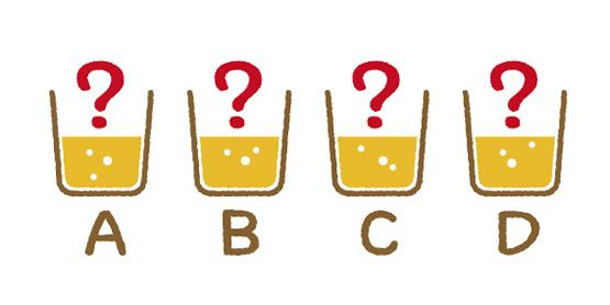 AからDがどのビールかを当てる